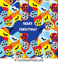 Merry christmas card - whimsical design with pattern