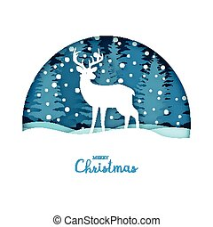 Merry Christmas card. White deer in the snow forest....