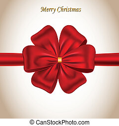 Merry Christmas card with a bow