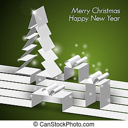 Merry Christmas card with a white tree and gift boxes