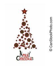 Merry Christmas card with abstract christmas tree
