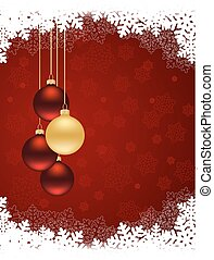 Merry Christmas card with balls and space for text.