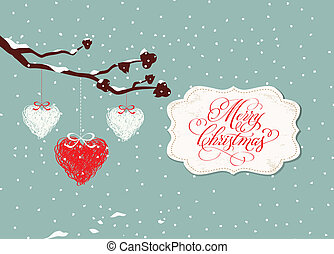 merry christmas card with balls