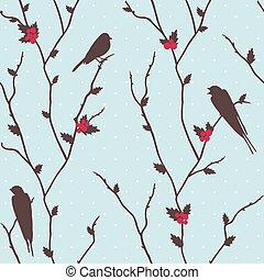 Merry Christmas card with birds