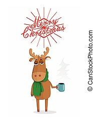 Merry Christmas card with cartoon deer