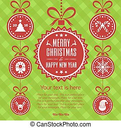 Merry Christmas card with celebration ball. Happy New Year. Vector Illustration