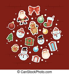 merry christmas card with characters circular pattern