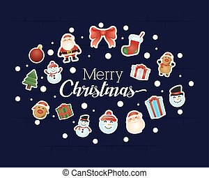 merry christmas card with characters pattern