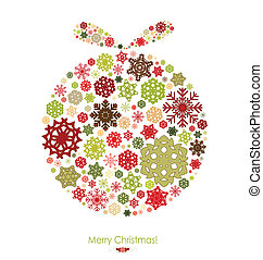Merry Christmas card with Christmas ball made from snowflakes. Vector illustration.
