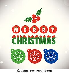 Merry Christmas card with christmas balls and snow flakes