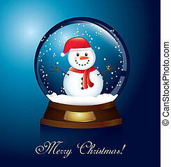merry christmas card with christmas globe and snowman....