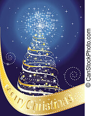 Merry Christmas card with Christmas tree and stars