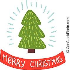 Merry Christmas card with christmas tree