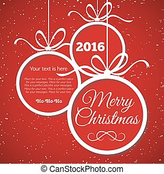 Merry Christmas card with congratulations. Happy New Year. Vector Illustration
