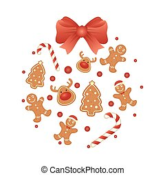 merry christmas card with cookies circular pattern