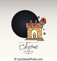Merry Christmas card with creative design and light background vector