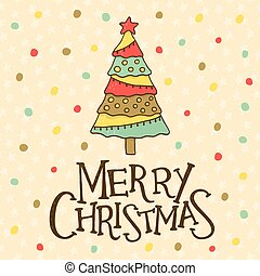 Merry Christmas card with cute christmas tree