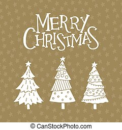 Merry Christmas card with cute christmas trees