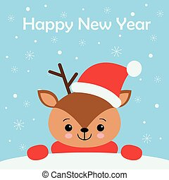 merry christmas card with cute dear wearing a winter scarf. vector illustration