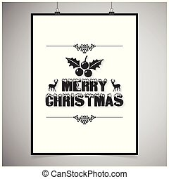 Merry Christmas card with dark typographic