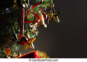 Merry christmas card with decorated christmas tree