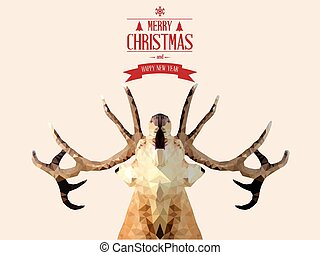 Merry Christmas card with deer, vector