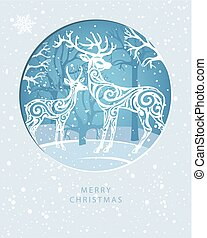 Merry Christmas card with Deers in forest