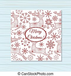 Merry christmas card with deers on wooden background