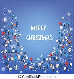 Merry Christmas card with forest illustration