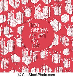 Merry Christmas Card with Gifts Pattern