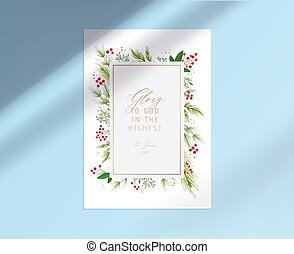Merry Christmas Card with Glory to God in the Highest Typography inside of Golden Frame, Holly Berries on White Paper
