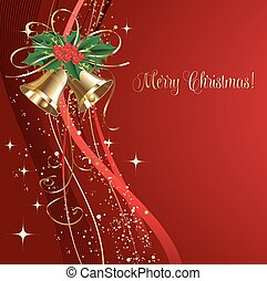 Merry Christmas  card with gold bells