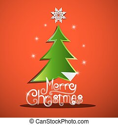 Merry Christmas Card with Green Tree and Paper Star on Red Background