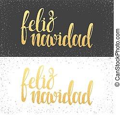 Merry Christmas card with greetings in spanish language. Feliz navidad
