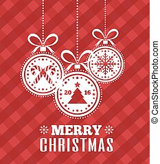 Merry Christmas card with holidays ball. Happy New Year. Vector Illustration