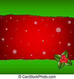 Merry Christmas Card With Holly Berry