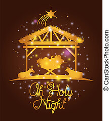 merry christmas card with jesuschrist and animals in stable