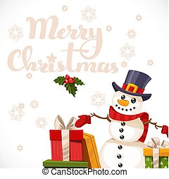 Merry Christmas card with lettering, snowman and gifts