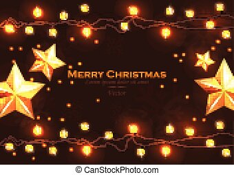 Merry Christmas card with lights Vector realistic illustration. Happy Holidays backgrounds