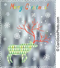 Merry Christmas card with ornate deer and snow - cute design