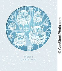 Merry Christmas card with Owls