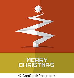 Merry Christmas Card with Paper Tree