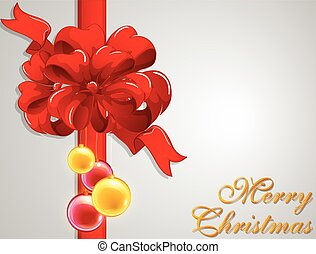 Merry Christmas card with red ribbon