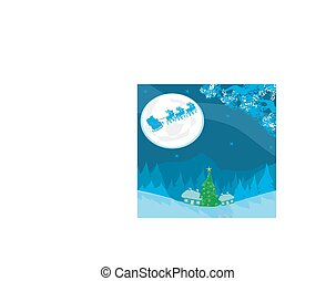 Merry Christmas card with Santa and winter landscape
