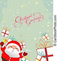 merry christmas card with santa cla