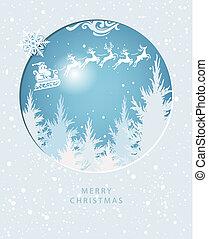 Merry Christmas card with Santa Claus on the sky