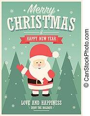 Merry Christmas card with Santa Claus on winter landscape background