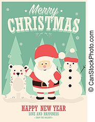 Merry Christmas card with Santa Claus, snowman and reindeer, winter landscape