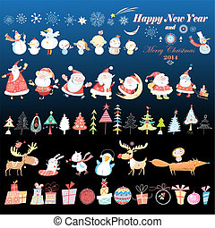 Merry Christmas card with Santa Claus and gifts on blue...