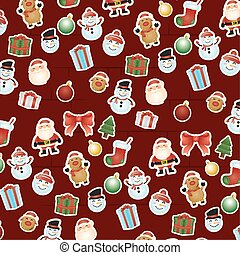 merry christmas card with set icons pattern